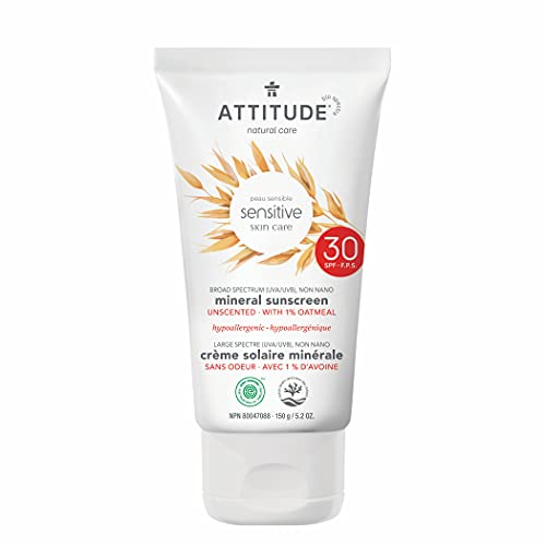 ATTITUDE Sensitive Skin, Hypoallergenic Mineral Sunscreen, SPF 30, Fragrance Free, 5.2 oz