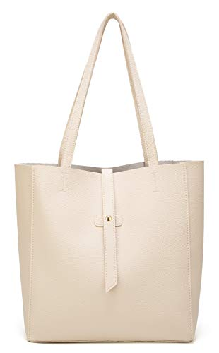 Dreubea Women's Large Tote Shoulder Handbag Soft Leather Satchel Bag Hobo Purse Beige
