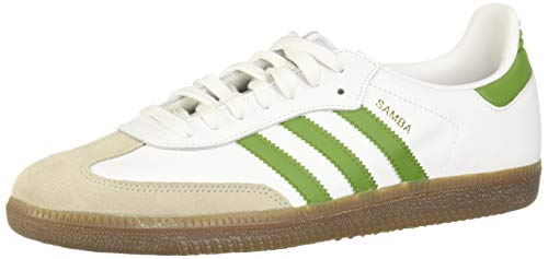 adidas Herren Samba OG Sneaker, Weiß FTWR White Tech Olive Hellbraun 10013806, 44 2/3 EU