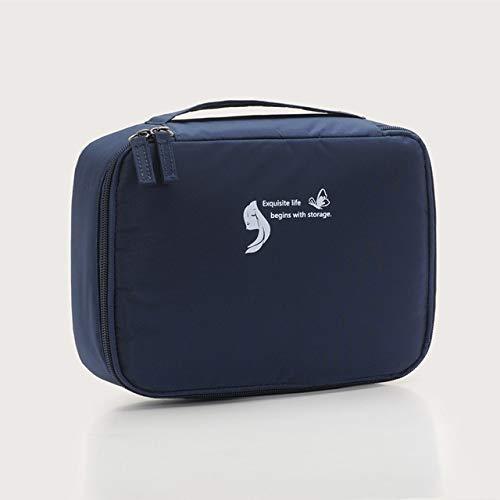 Sac cosmétique Voyage Waterproof Organisateur Portable Trousse Femmes Mode Sacs Valise et Toilette Big Sacs de Maquillage Rose (Color : Navy Blue)