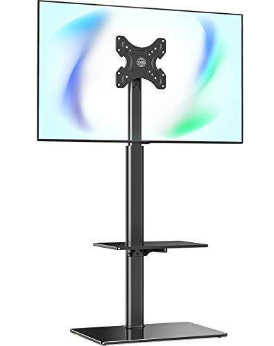 FITUEYES TV Ständer 2 Regale TV Bodenständer Fernsehstand mit Regal für 19 bis 42 Zoll Flach & Curved Fernseher Drehbar höhenverstellbar kippbar Max.VESA 200x200 TT204601GB