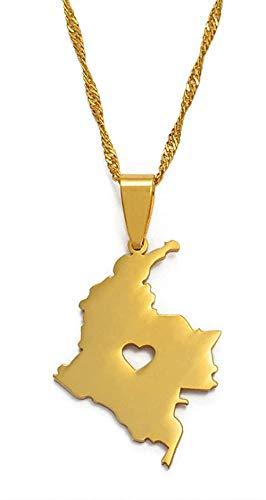 NC198 Collar Colombia Mapa Colgante Collar para Mujeres/Hombres Joyas de Color Dorado Mapa de Cadenas Colombianas