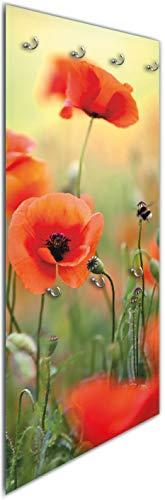 Wallario Wandgarderobe aus Glas in Größe 50 x 125 cm in Premium-Qualität, Motiv: Mohnblumenblüten | 7 Kleiderhaken zum Aufhängen von Jacken