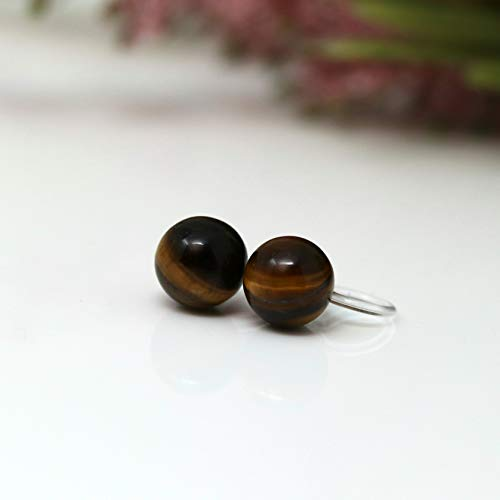 Invisible Clip on 8mm Round Tiger Eye Stone Earrings for Non-Pierced Ears