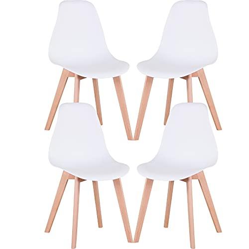 GrandCA HOME Nordica Silla de Comedor Pack 4 Sillas Comedor Madera Moderna para Oficina Cocina (Blanco-4 sillas)