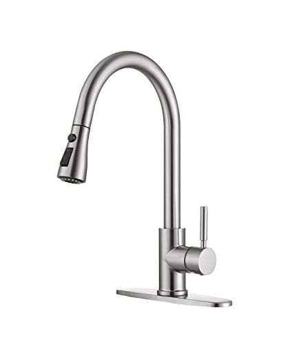 Product Image of the Moone Commercial Modern Single Handle Spring High Arc Brushed Nickel Kitchen Faucet, Pull Out Sprayer Kitchen Faucets Pull Down Spray Brass and Stainless Steel Kitchen Sink Faucet with Deck Plate