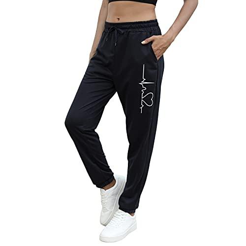 MUYOGRT Jogginghose Damen Sporthose Trainingshose Fitnesshose Sweathose mit Blumendrucken it Tunnelzug Trainingshose Sweatpants(schwarz,M)