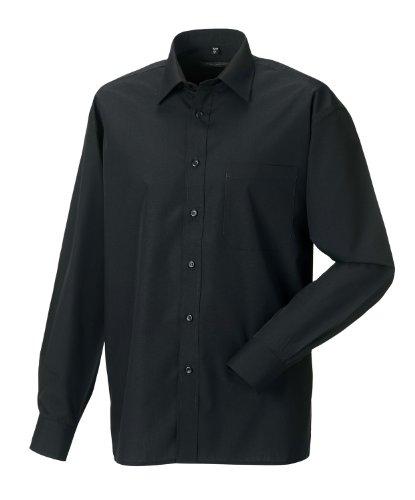Z934 Langarm Popeline-Hemd Oberhemd Herren Hemd Russell XL / 43/44,Black