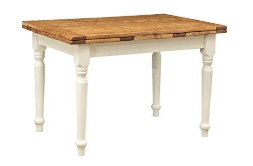 Table extensible en bois de tilleul massif, style country, structure blanche effet vieilli, plateau bois naturel, 120 x 80 x 80 cm