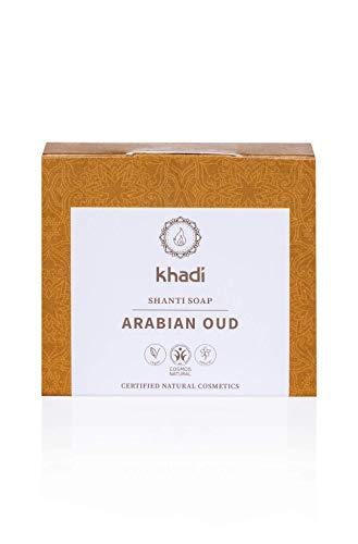 khadi Shanti Soap Arabian Oud 100 gr I Naturseife aus pflegender Kakaobutter, Kokos- und Mandelöl I Naturkosmetik 100% pflanzlich und vegan