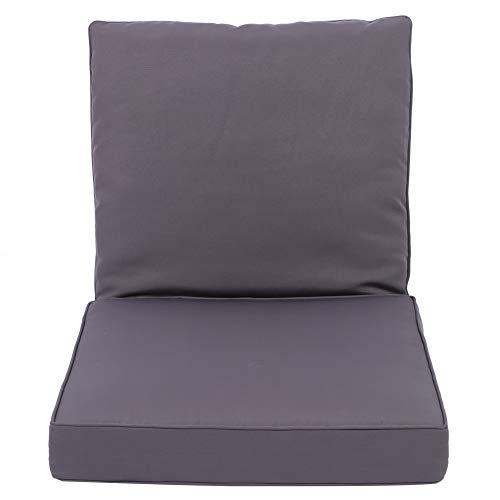 GOTOTOP Cojín de silla, color gris al aire libre espesar asientos de fibra de poliéster cojines de silla con respaldo para patio jardín
