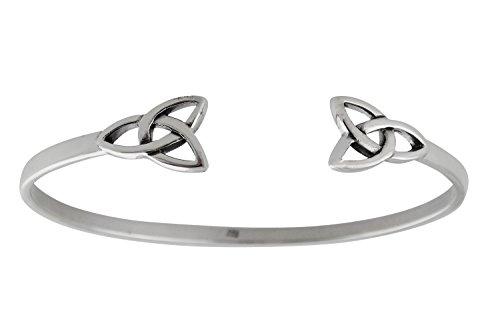 FashionJunkie4Life Sterling Silver Celtic Trinity Knot Cuff Bracelet, Triquetra Symbol
