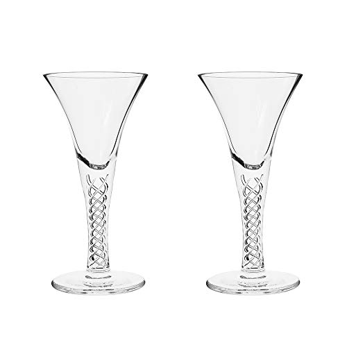 Royal Scot Crystal - Jacobean Air Twist – 2 Port Sherry Gläser (Geschenkbox)