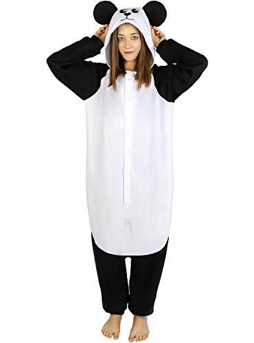 Funidelia | Disfraz de Oso Panda Onesie para Hombre y Mujer Talla XL ▶ Animales, Oso - Color: Blanco - Divertidos Disfraces y complementos para Carnaval y Halloween