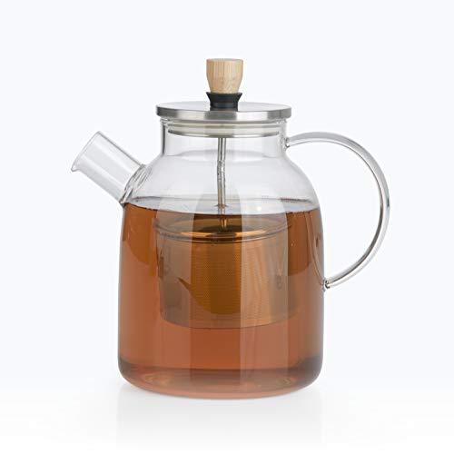 BEEM TEEKANNE Glaskanne mit Siebeinsatz - 1,5 l | Teekanne Glas | Sieb Edelstahl mit Hebefunktion | Hitzebeständiges Glas | Für heißen Tee oder Eistee