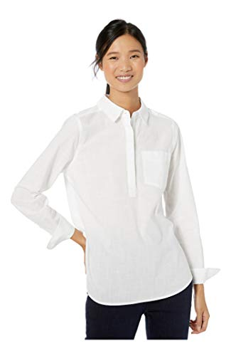 Goodthreads Washed Cotton Popover button-down-shirts, Bright White, S