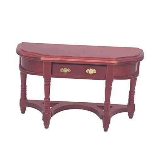 Accesorio para casa de muñecas, 1/12 mesa de escritorio de madera vintage mini muebles de casa de muñecas juego de juguete para niños