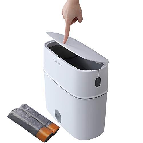 MOPALL Abfallbehälter fürs Bad mit Deckel | Papierkorb mit Pressdeckel | Küche Zugseil Abfalleimer - 11L Slim Kunststoff Schmaler Toiletten Mistkübel für Wohnzimmer, Schlafzimmer, RV, Küche und Büro