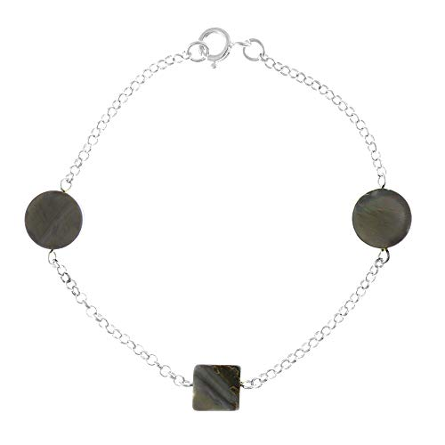 Córdoba Jewels   Pulsera en Plata de ley 925 con diseño Circles & Square Silver