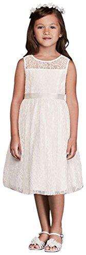 David's Bridal Sleeveless Knee Length Flower Girl/Communion Dress Style OP226, Soft White, 8