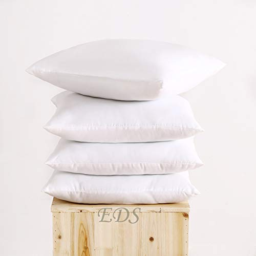 EDS Set of 2 45cm x 45cm Set of 2 White Cushion Pads With Polyester Filling, Hypoallergenic 2 Cushion Inner 100% hollow fiber Square Pillow insert - 2 cushion pads (18' x 18')