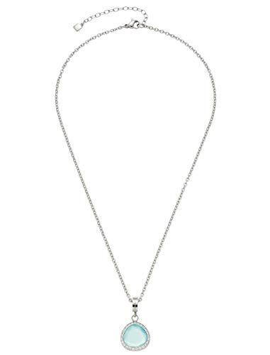 Jewels by Leonardo Damen-Halskette Andria, Edelstahl mit Anhänger mit türkisfarbenem Glas-Stein, mit Karabinerverschluss, Länge 420 mm, 016864