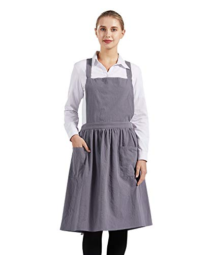 Nanxson Grembiule da Cucina in Lino - Grembiule Regolabile Grembiule da Donna in Lino da...