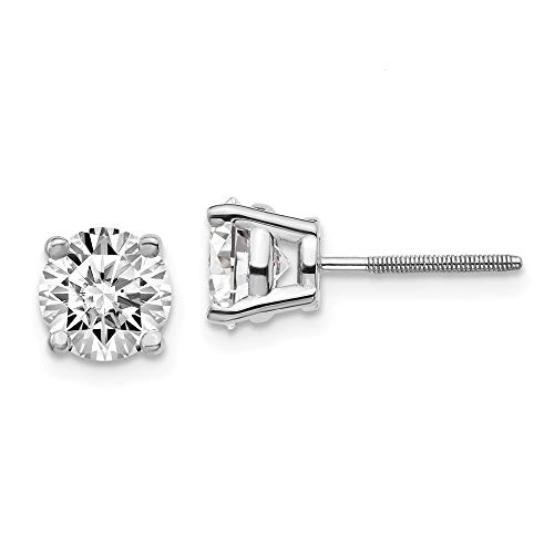 14k White Gold 2ctw Si+ H+ Lab Grown Diamond Screw Back Earrings Stud Fine Jewellery For Women Mothers Day Gifts For Her