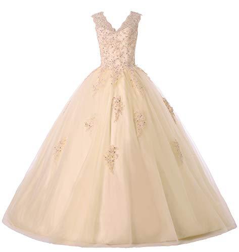 Gemila Women's Lace Applique Beaded Sweet 16 Ball Gown Quinceanera Dress