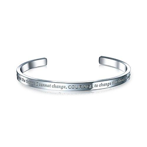Bling Jewelry Serenity Gebet Inspiration Mantra Stapelbar Manschette Armreif Für Jugendlich Für Herren Für Damen Edelstahl