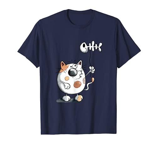 Globo con diseño de gato con espiga Camiseta