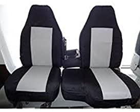 Durafit Seat Covers Made to fit 1998-2001 Ford Ranger XLT Front 60/40 Bench Seat with Opening Console. Black/Gray Automotive Twill. Airtex Center Panels