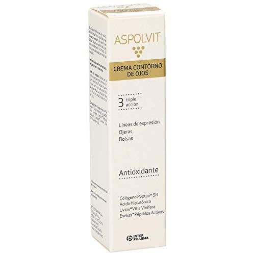 ASPOLVIT, Contorno de ojos antiarrugas para mujer con colágeno y ácido hialurónico, 15 ml