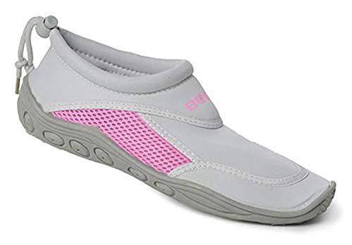 BECO Surfschuhe Badeschuhe Beachschuhe Damen Pantolette Schuhe grau/pink Gr. 40