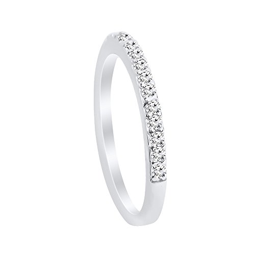 XP Jewelry Sterling Silver Cubic Zirconia Half Eternity Band Ring - 7