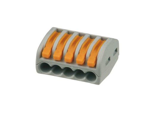 Preisvergleich Produktbild REV Ritter 0508574555 Wago-Verbindungsklemme mit Hebel,  5-polig,  10 Stück ,  grau