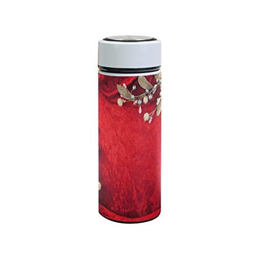 XiangHeFu waterfles zakenreisbeker houdt koud of warm sport thermoskan lekvrij trouwkaart rode bloem 12oz
