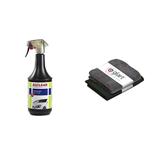 ALCLEAR 721GR Auto Glasreiniger mit Tiefenwirkung und Abperleffekt, 1.000 ml + Glart 4432K 2er Set Mikrofasertücher für die Scheibenreinigung 60 x 40 cm und Trockenflausch 32 x 32 cm