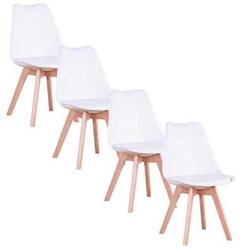 GrandCA Home Lot de 4 chaises, Chaise de Salle à Manger, Chaise Tulipe de Style Nordique, Convient pour Salon, Salle à Manger (Blanc)
