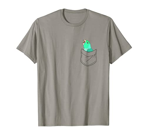 Bolsillo Turquesa Parrotlet Screaming Parrot Funny Birb memes Camiseta