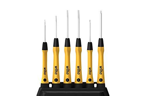 Wiha PicoFinish ESD - Juego de destornilladores (6 piezas, punta plana) Con soporte, 43707.