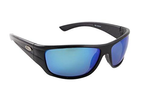Sea Striker Bill Collector - Gafas de sol polarizadas, marco negro, lente azul espejo