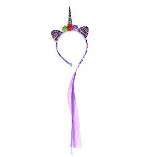 Amosfun Diadema de Unicornio con Peluca para Niñas Diadema con Diamante de Imitación para Fiestas