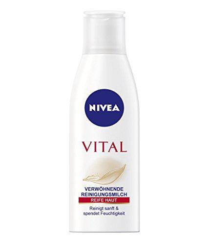 NIVEA Reinigungsmilch für reife Haut, 1 x 200ml Flasche, Vital Verwöhnende Reinigungsmilch