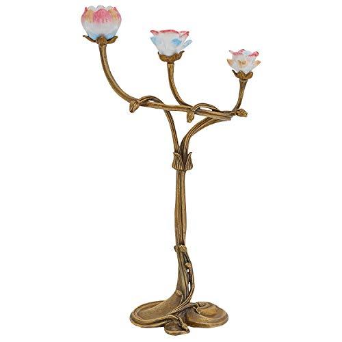 aubaho Bougeoir Fleur Porcelaine Laiton Sculpture Style Antique 34cm