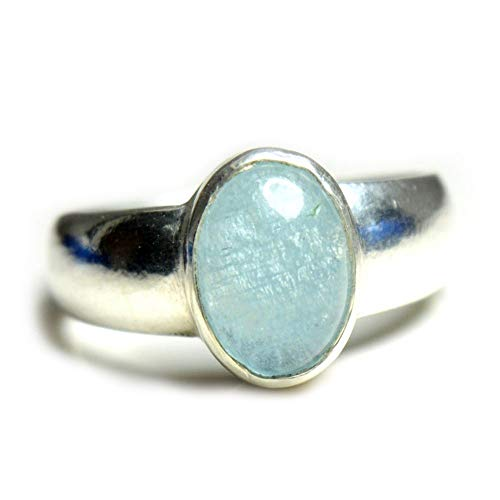 Gemsyogi Unisex Damen Herren - Sterling-Silber 925 Oval Blue Aquamarin