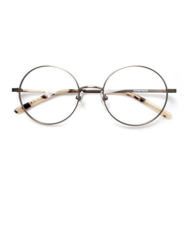Komehachi - Large Round Slim Light-Weight Metal Unisex Women Prescription Eyeglasses Frames Clear Lens Glasses (Silver)