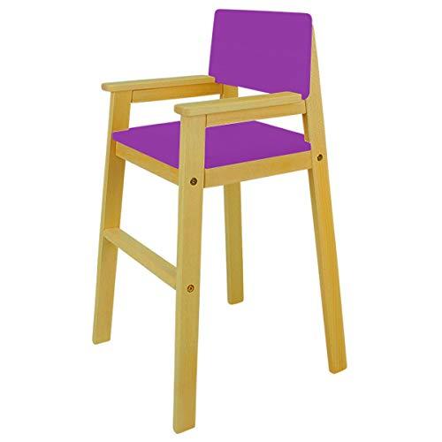 Madyes kinderstoel hoge stoel massief hout beuken kleur noten trapstoel beuken voor eettafel, hoge kinderstoel voor kinderen, stabiel en onderhoudsvriendelijk, vele kleuren mogelijk lila