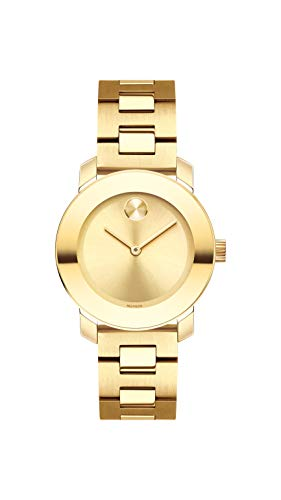 Movado Women's BOLD Iconic Metal Yellow Gold Watch with Flat Dot Sunray Dial, Gold/ (Model 3600434)
