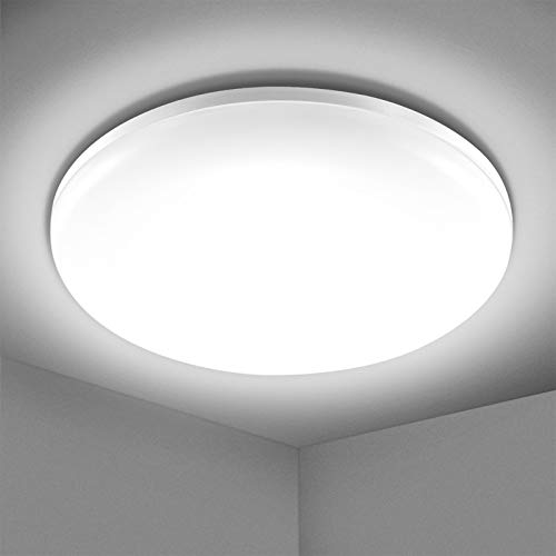 Plafonnier LED 24W, Elfeland Luminaire Salle de Bain 2200LM Imperméable IP54 Lampe Plafond Moderne Mince Rond Blanc Naturel 5000K Luminaire Plafonnier, pour Couloir Chambre Cuisine Balcon Ø23*3cm